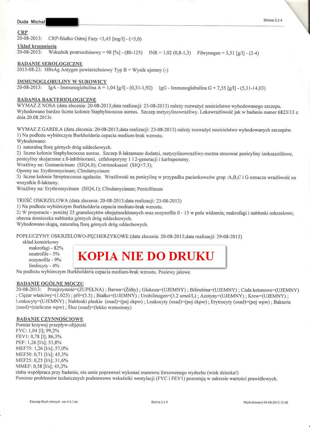 karta informacyjna leczenia szpitalnego  IGiCHP 1