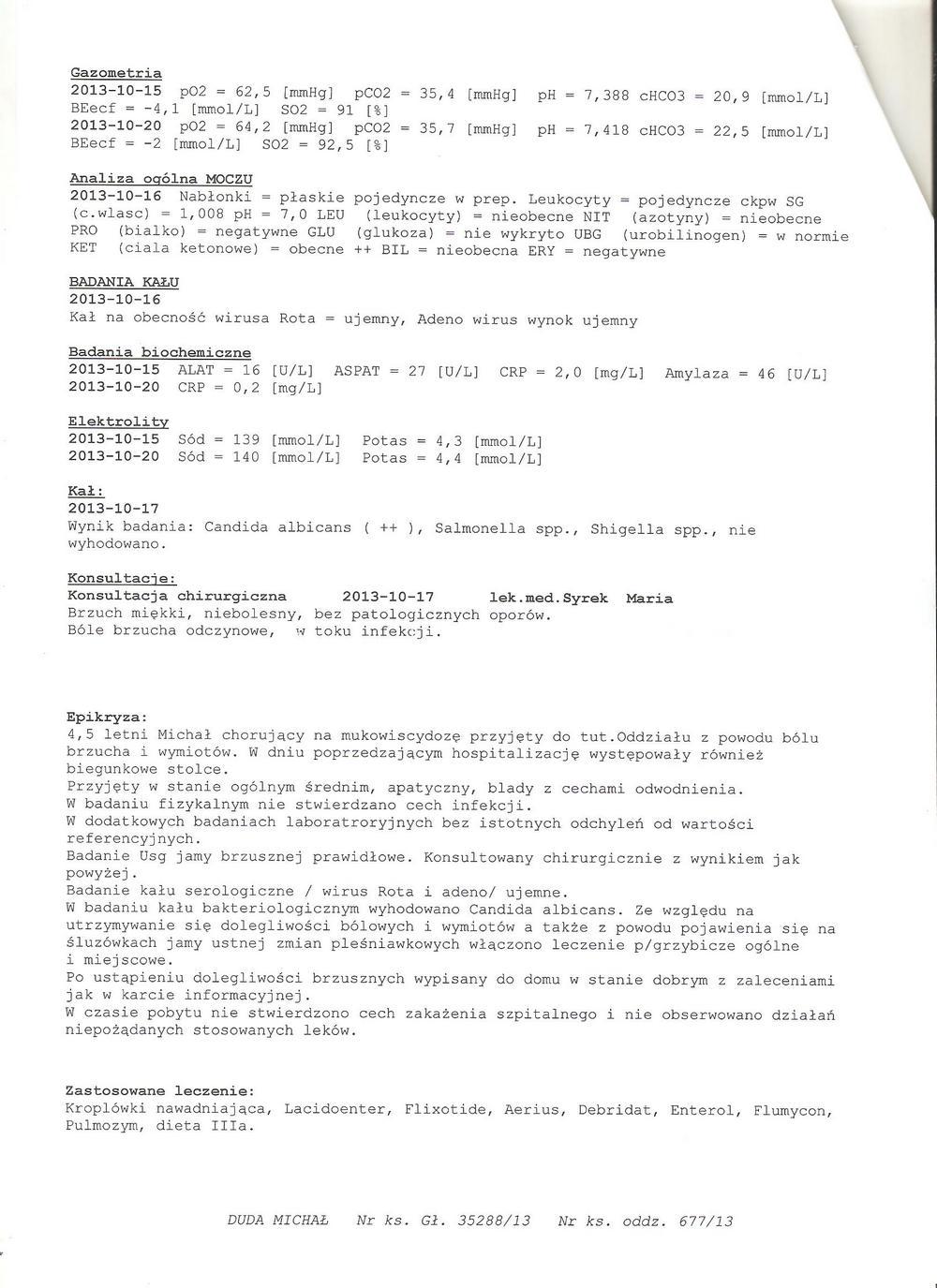 karta informacyjna szpital Miejski 1