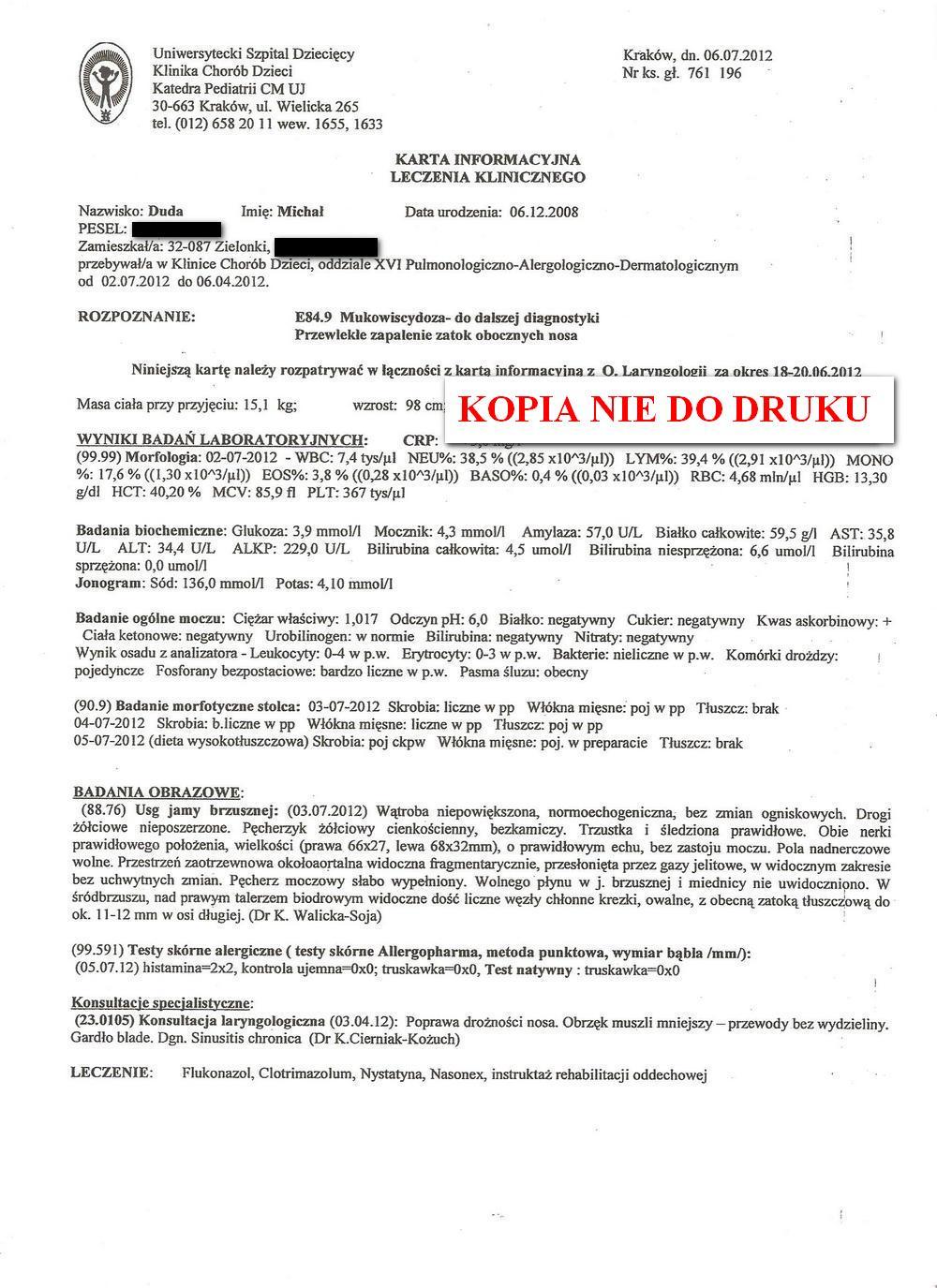 karta leczenia klinicznego USD w Krakowie 2