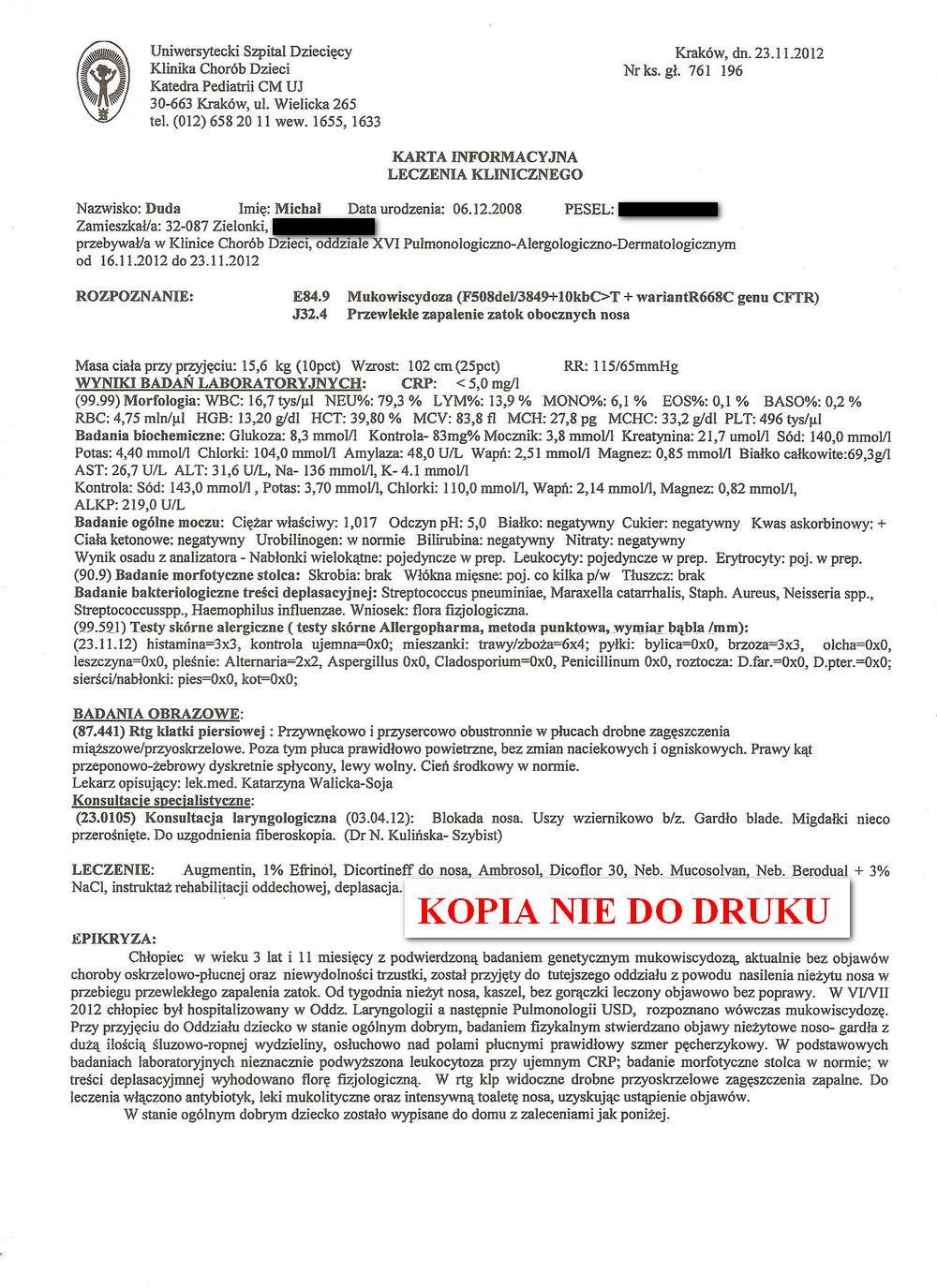 karta leczenia klinicznego USD w Krakowie 3