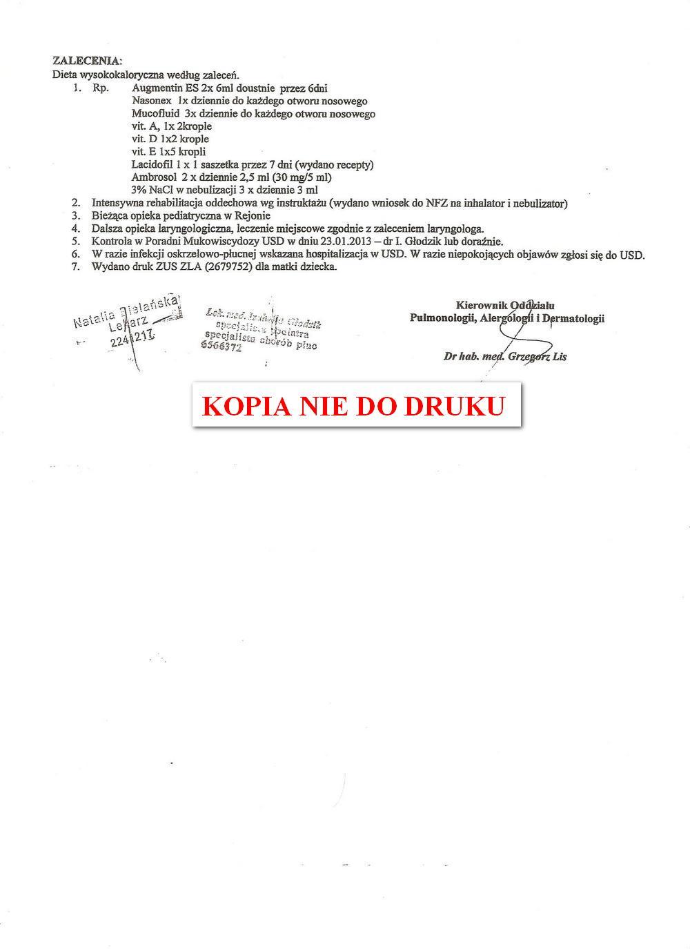 karta leczenia klinicznego USD w Krakowie 3,1
